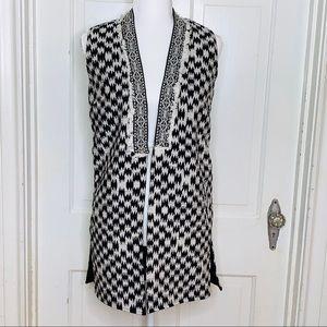 Atmosphere Black & White Ikat Cotton Vest. Size 2